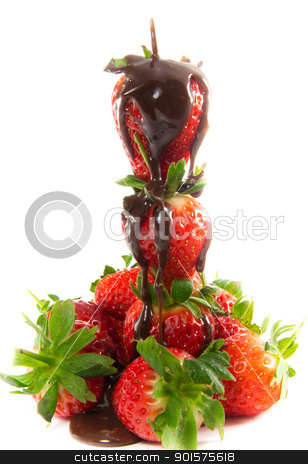 Melted chocolate on strawberry tower stock photo, A picture of melted chocolate that is poured over a tower of strawberries by Stian Olsen