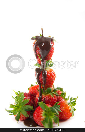 Tower of strawberries with melted chocolate stock photo, Picture of a tower of strawberries with melted chocolate poured over by Stian Olsen