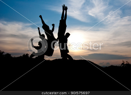 Victory and happy stock photo, silhouette of boy victory and happy together by Charoen Dokkularb