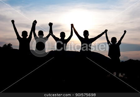 victory stock photo, silhouette of boy victory and happy together by Charoen Dokkularb
