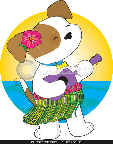 Cute Puppy Hawaii stock vector clipart, A cute puppy in a grass skirt, with a hibiscus flower in its ear, is crooning away while playing the ukulele. by Maria Bell
