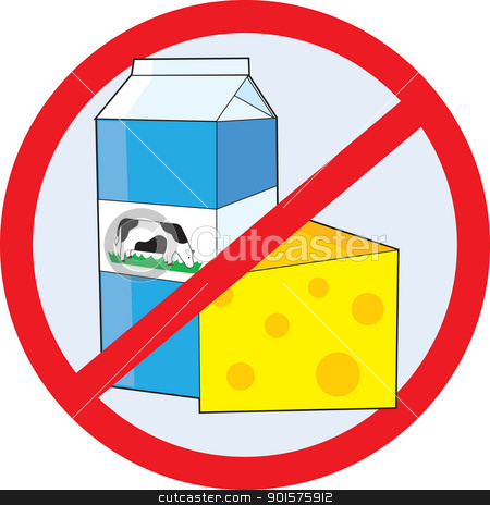 No Dairy stock vector clipart, A red circle outline with a slash through it, is superimposed over a piece of cheese and a milk carton with a picture of a cow on the side, clearly indicating NO DAIRY. by Maria Bell