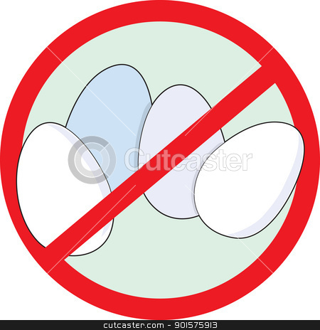 No Eggs stock vector clipart, A red circle outline with a slash through it, is superimposed over four eggs, clearly indicating NO EGGS. by Maria Bell