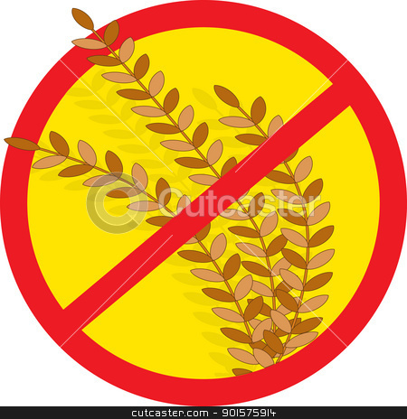 No Wheat stock vector clipart, A red circle outline with a slash through it, is superimposed over stems of wheat, clearly indicating NO WHEAT. by Maria Bell