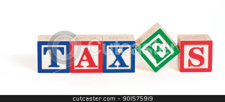 Alpahbet Blocks Taxes stock photo, Alphabet blocks arranged to spell the word,