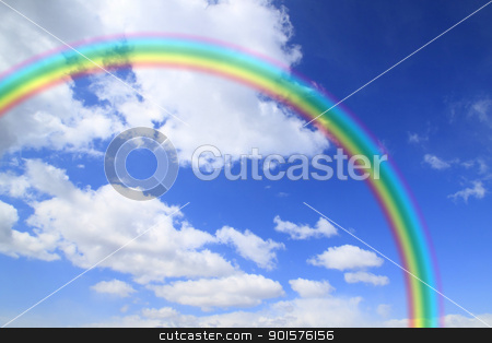 rainbow and cloud in blue sky stock photo, rainbow and cloud in blue sky  (  Iwate,  Japan) by yoshiyayo