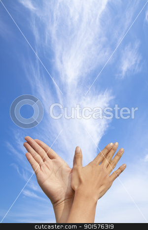 bird gesture by couple with cloud background stock photo, bird gesture by couple with cloud background by tomwang