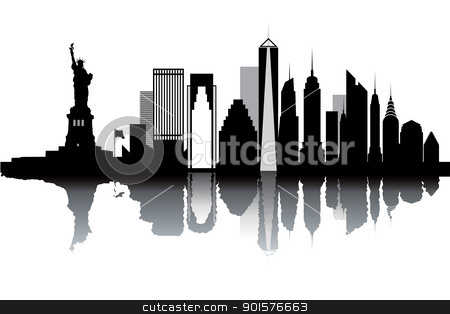 New York skyline stock vector clipart, New York skyline - black and white vector illustration by Ilyes Laszlo