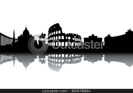 Rome skyline stock vector clipart, Rome skyline - black and white vector illustration by Ilyes Laszlo