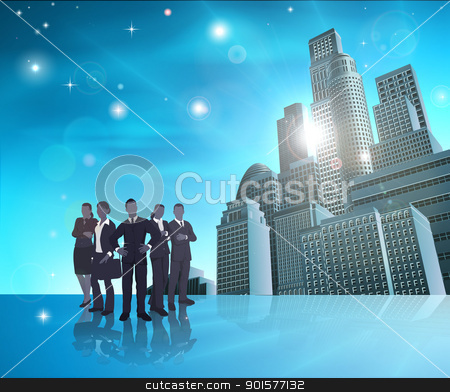 Professional team blue city illustration stock vector clipart, Business team of in front of modern city background.  by Christos Georghiou