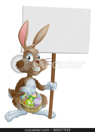 Easter bunny rabbit holding sign stock vector clipart, Easter bunny rabbit holding a basket of Easter eggs and a sign