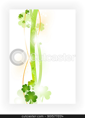 Border with shamrocks in green and orange on white background stock vector clipart, Border with wavy stripes in green and orange with green shamrocks and light effects. Great for the coming St. Patrick's day or any other Irish connected theme. by Ina Wendrock