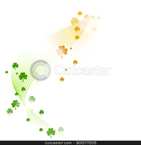 Wavy pattern with shamrocks in green and orange on white stock vector clipart, Wavy stripes with a gradient from green over white to orange forming a border adorned with various shamrocks. Great for the coming St. Patrick's day or any other Irish connected theme.  by Ina Wendrock