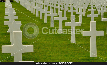 No more stock photo, White crosses at the American war cemetery in Normandy. by Maurizio Martini