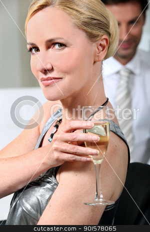 Woman with champagne flute stock photo, Woman with champagne flute by photography33