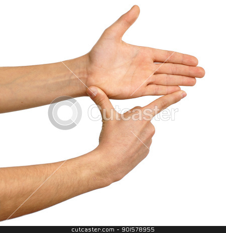 Showing measures, hand sign stock photo, isolated hands showing measure over white background by Julija Sapic