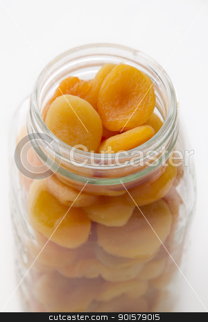 Jar of apricot stock photo, dried apricot in a glass jar by Yann Poirier