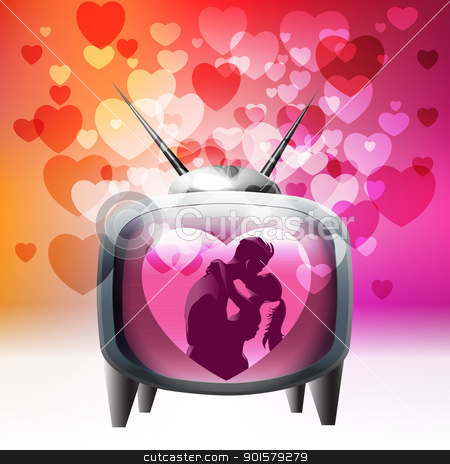 Tv spreading love around stock vector clipart, Tv spreading love around vector illustration by Ekaterina