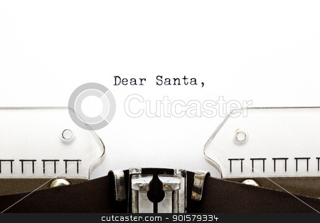 Letter to Santa on Typewriter  stock photo, The beginning of a letter to Santa written on an old typewriter  by Ivelin Radkov