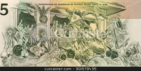 Aguinaldo's Independence Declaration stock photo, Aguinaldo's Independence Declaration on 5 Piso 1990 Banknote from Philippines. by Georgios Kollidas