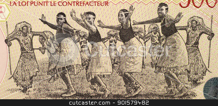 Dancers from Rwanda stock photo, Dancers on 5000 Francs 1998 Banknote from Rwanda. by Georgios Kollidas