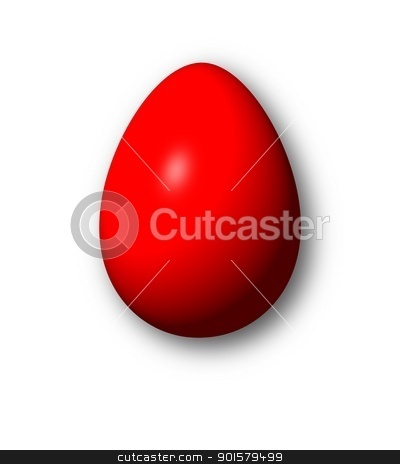 Egg Red stock photo, Red egg on white background with shadow. by Henrik Lehnerer