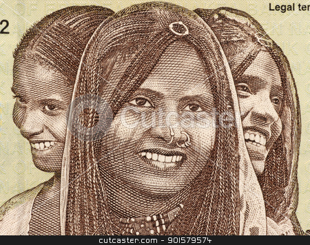 Three Young Women from Eritrea stock photo, Three Young Women on 10 Nakfa 1997 Banknote from Eritrea. by Georgios Kollidas