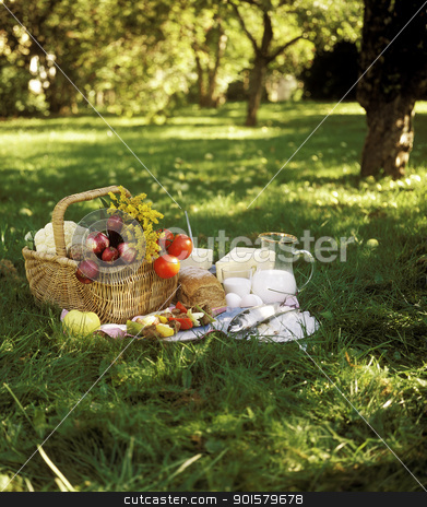 Picnic stock photo, Bread, Fish and vegetables in a picnic basket by Anne-Louise Quarfoth
