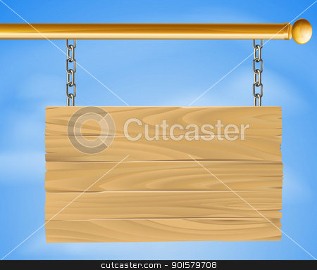 Wooden hanging sign stock vector clipart, Wood sign hanging suspended with chains on pole with sky in the background illustration by Christos Georghiou
