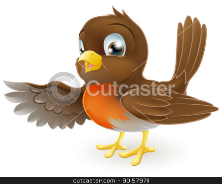 Robin Pointing Illustration stock vector clipart, A sweet little Robin standing and pointing with its wing by Christos Georghiou