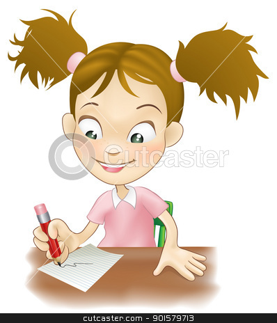 Young girl writing at her desk stock vector clipart, Illustration of a cute young girl sat at her desk writing on paper.  by Christos Georghiou