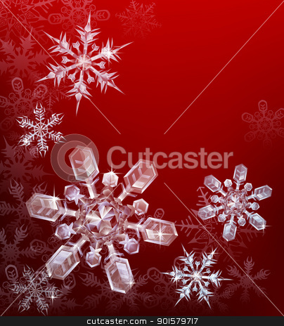 Red Christmas snowflake background stock vector clipart, A red Christmas snowflake background with beautiful transparent crystal snowflakes by Christos Georghiou