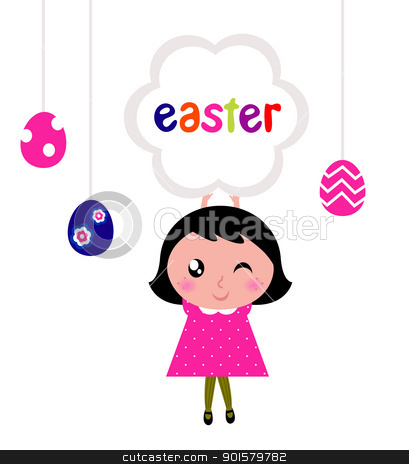 Cute little girl holding easter banner stock vector clipart, Girl with easter banner and eggs. Vector cartoon Illustration. by BEEANDGLOW