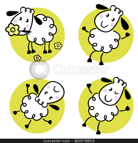 Cute doodle sheep set isolated on white stock vector clipart, Doodle sheep collection in circles. Vector cartoon by Jana Guothova
