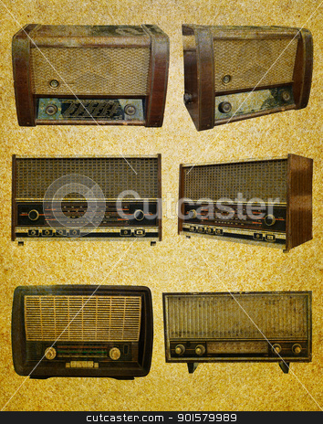 Radio retro set  stock photo, Radio retro set on  grunge paper background by stoonn