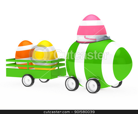 easter egg figure stock photo, easter egg figure with car and trailer by d3images