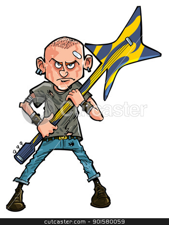 Cartoon punk teen brandishing his guitar stock vector clipart, Cartoon punk teen brandishing his guitar. Isolated by antonbrand