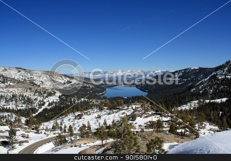 Donner Lake and Surrounding Mountains stock photo, Donner Lake and Surrounding Sierra Nevada Mountains Donner Summit California by Mindy Linford