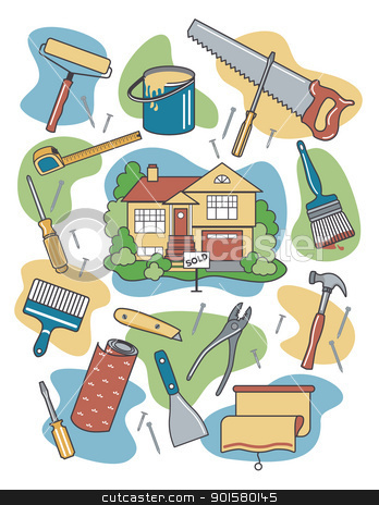 Home Improvement stock vector clipart, Vector illustration of household tools and items surrounding a newly-renovated home. by Lisa Fischer