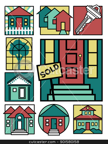 Home Icons Collection 2 stock vector clipart, Second collection of nine vector illustrations with a home theme. by Lisa Fischer