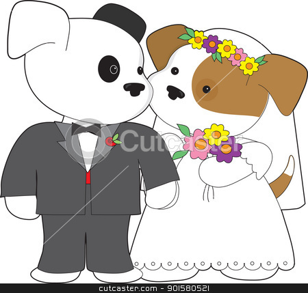 Cute Puppy Marriage stock vector clipart, Two little puppies, one dressed in a tuxedo, the other in a wedding gown with flowers in her hair, are about to be married. by Maria Bell
