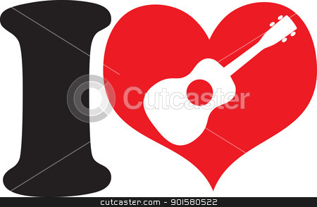 I Love Uke stock vector clipart, A big black I and a big red heart with a ukulele cutout, symbolizing that, I love ukulele. by Maria Bell
