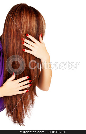 long brown hair stock photo, back of the head of young woman with long brown hair with blond highlights touching her hair on white background. by lubavnel
