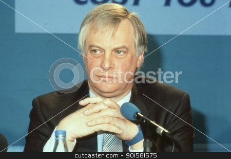 Rt.Hon. Christopher Patten stock photo, Rt.Hon. Christopher Patten, Chairman of the Conservative party, attends a press conference in London, England on April 10, 1991. In July 1992 he became the last Governor of Hong Kong. by newsfocus1