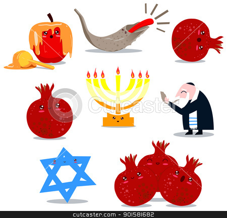 Rosh Hashanah Symbols Pack stock vector clipart, A pack of Vector illustrations of famous Jewish symbols for the Jewish Holidays New Year and Yom Kipur. by Liron Peer