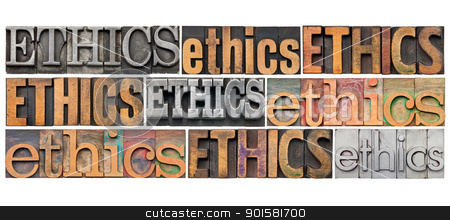 ethics word abstract stock photo, ethics concept - a collage of 9 isolated words in different vintage letterpress metal and wood types by Marek Uliasz