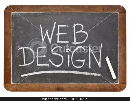 web design concept stock photo, web design - white chalk handwriting on a vintage slate blackboard isolated on white by Marek Uliasz