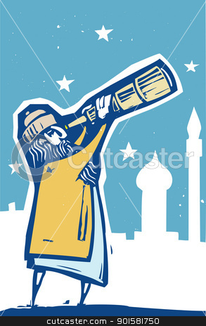 Telescope Color stock vector clipart, Islamic man with a telescope scans the sky. by Jeffrey Thompson