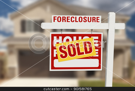 Sold Foreclosure Home For Sale Sign and House stock photo, Sold Foreclosure Home For Sale Sign and House with Dramatic Sky Background. by Andy Dean