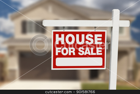 House For Sale Real Estate Sign and New Home stock photo, House For Sale Real Estate Sign in Front of Beautiful New Home. by Andy Dean